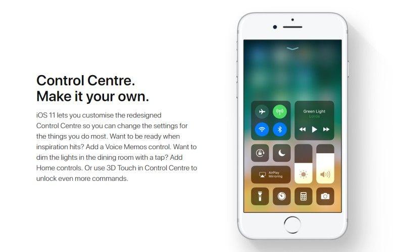 iOS 11 WWDC 2017 Control Centre