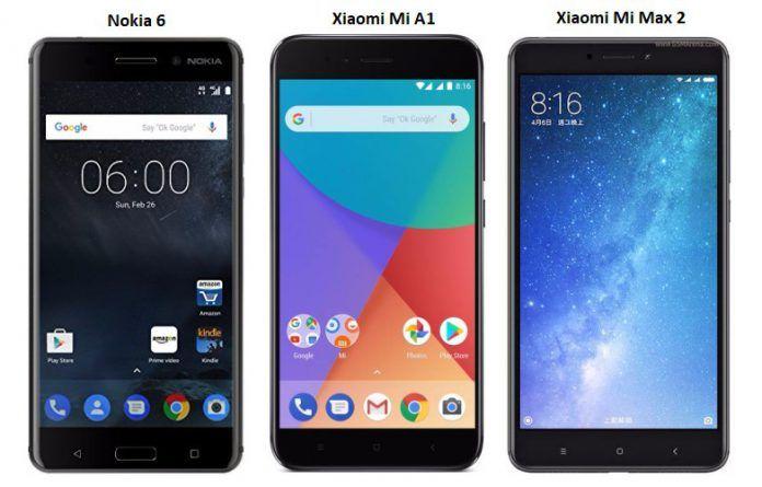 b661271ab2c Nokia 6 vs Mi A1 vs Mi Max 2  Price in India
