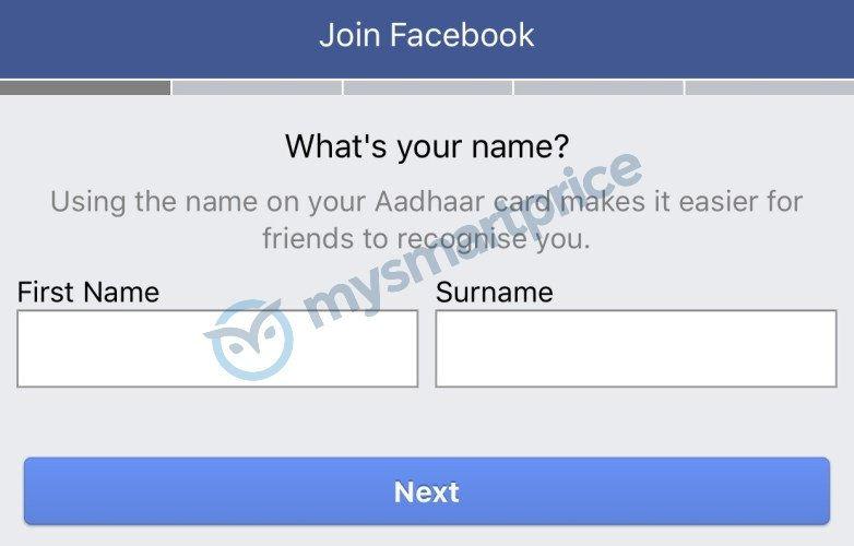 Facebook Aadhaar Prompt For New Users