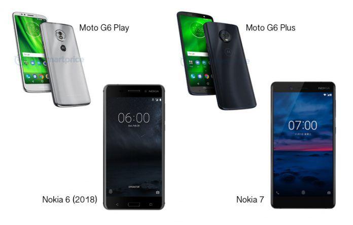 Moto G6 Play vs Nokia 6 (2018) vs Moto G6 Plus vs Nokia 7