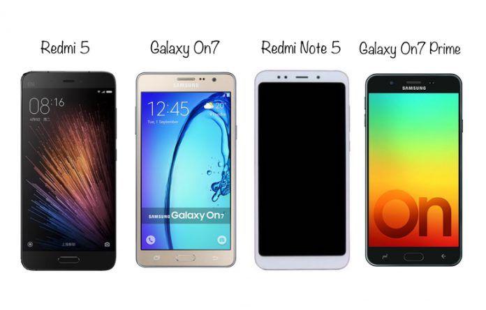 Redmi 5 vs Samsung Galaxy On7 vs Redmi Note 5 vs Samsung Galaxy On7 Prime