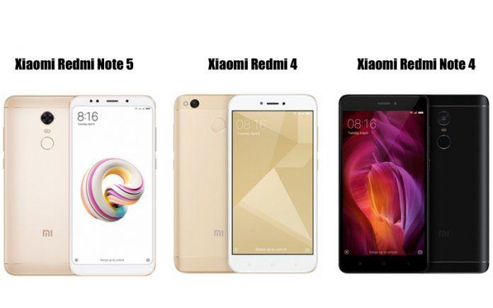 Redmi Note 5 vs Redmi Note 4, Redmi 4: Specifications