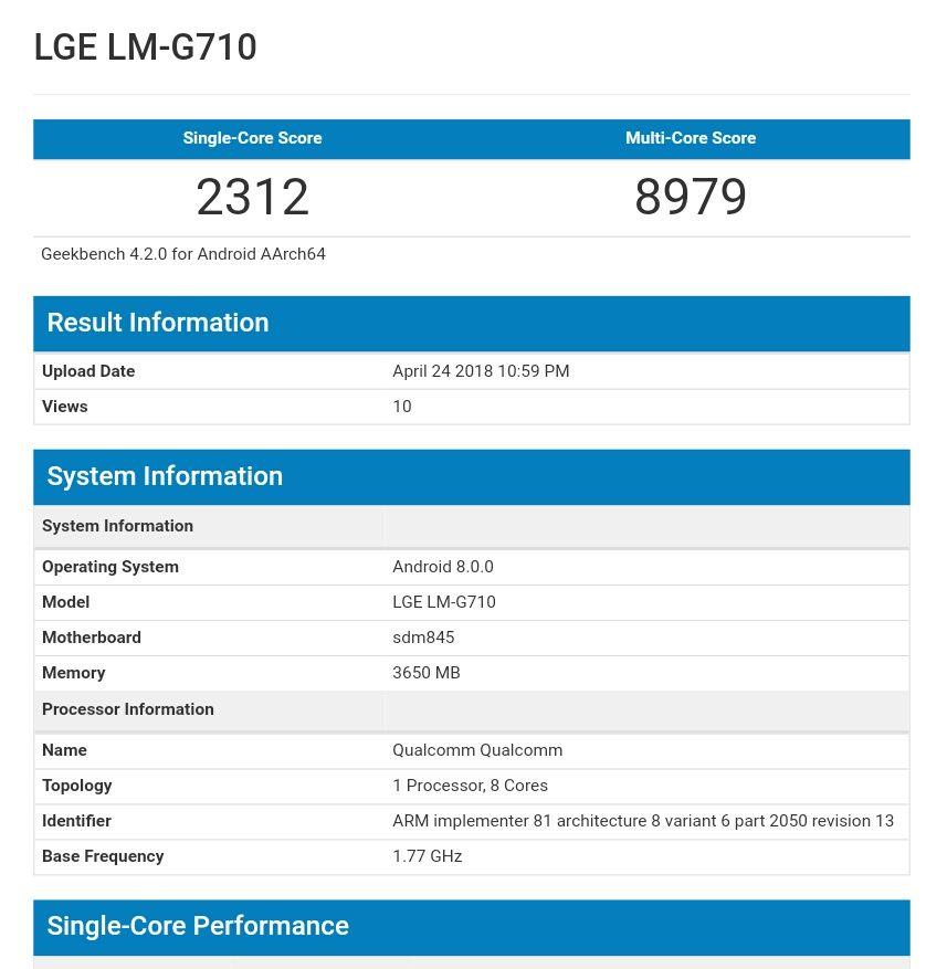 LG G7 ThinQ-Geekebench