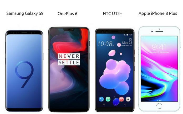 OnePlus 6 vs HTC U12 Plus vs Samsung Galaxy S9 vs iPhone 8