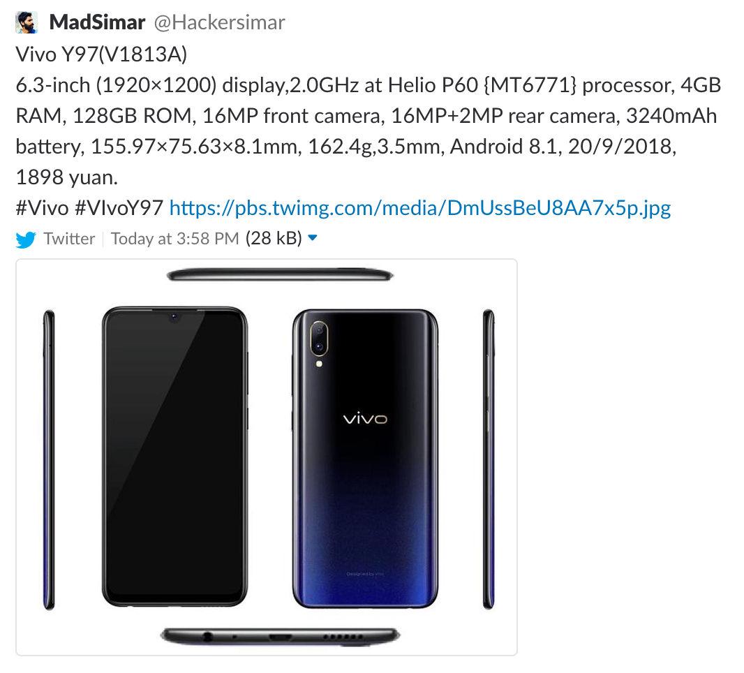 Vivo Y97 With Helios P60, 4GB+128GB Memory Leaked Online