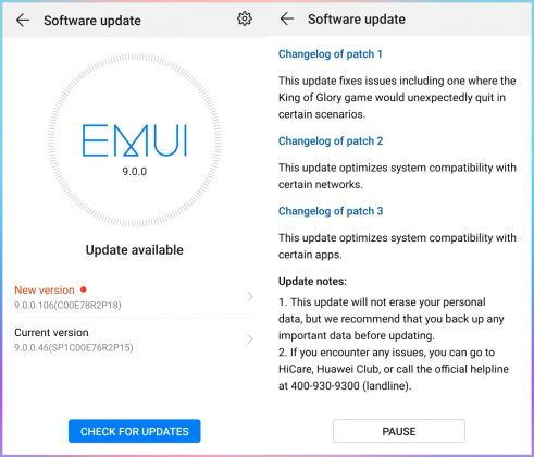 Honor View 10 Android Pie Update EMUI 9.0