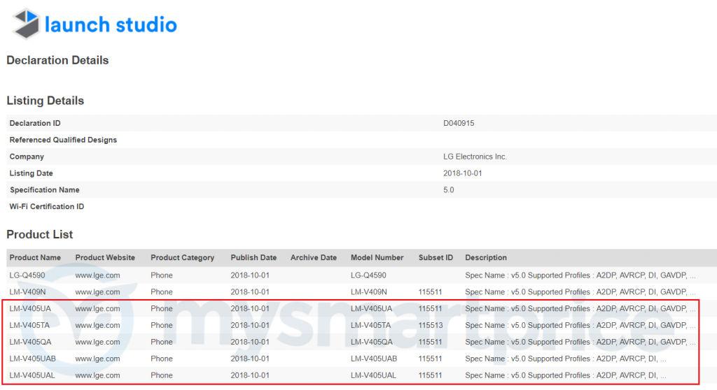LG V40 ThinQ Bluetooth Certification Listing