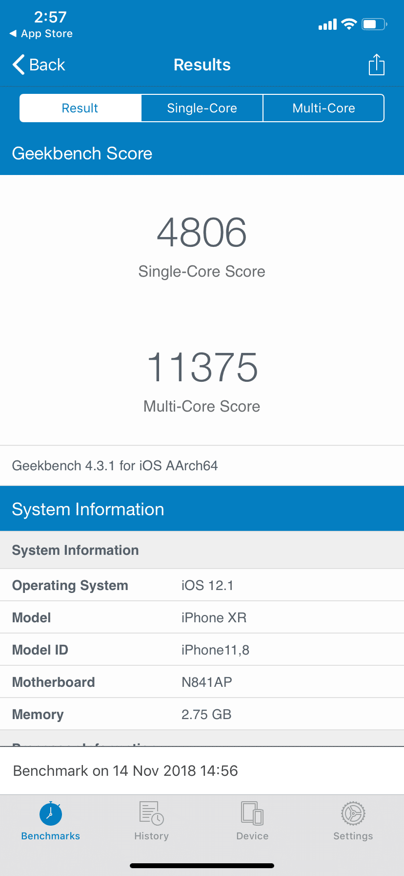 Apple iPhone XR Benchmark Geekbench CPU