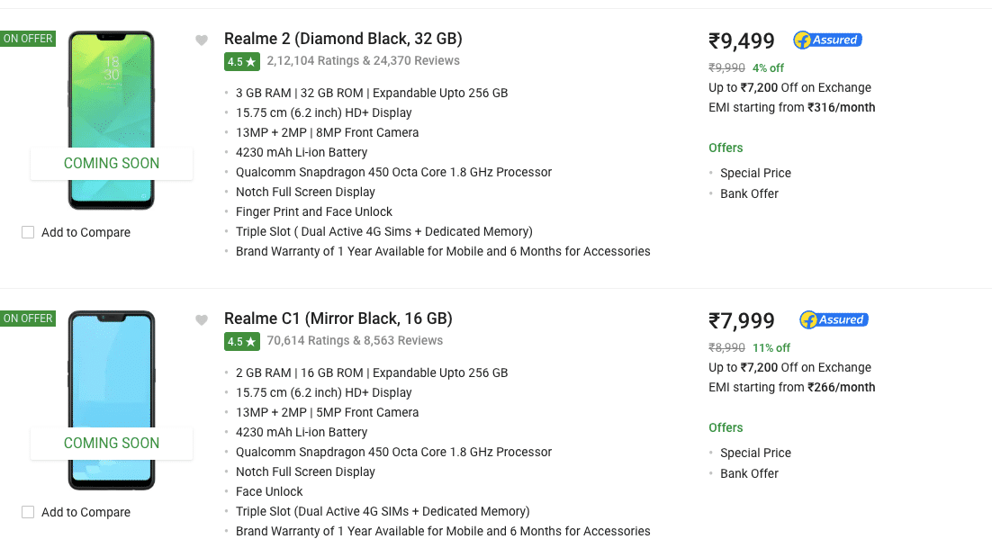 Realme 2, Realme C1 Price in India Hiked by Up to Rs 1,000