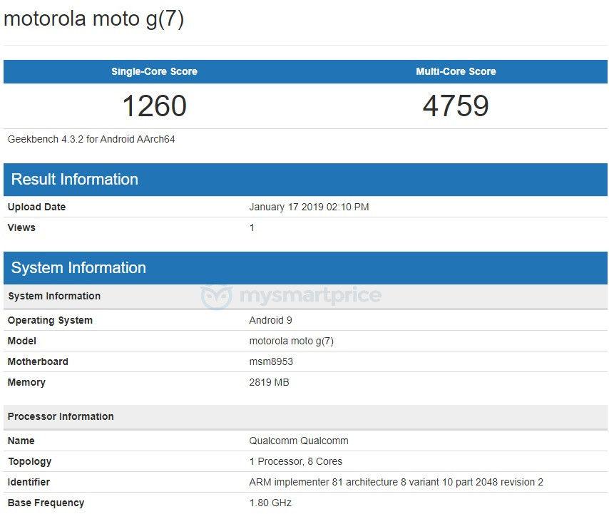 Moto-G7- Geekbench