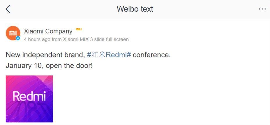 Xiaomi Redmi Sub-Brand Announcement On Weibo
