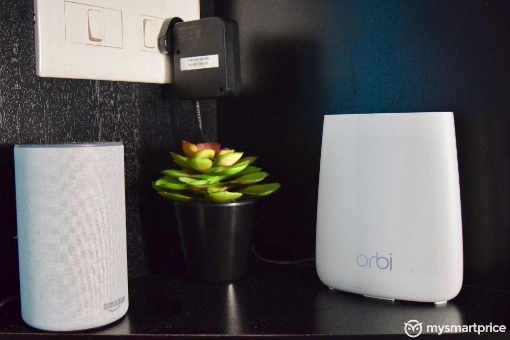 Netgear Orbi RBK20 vs. Amazon Echo Size Comparison