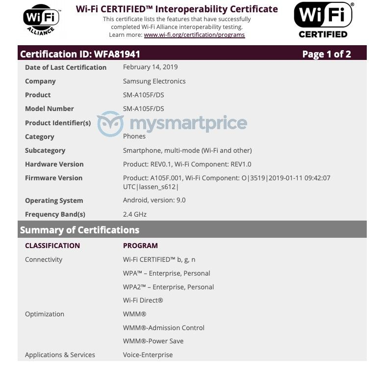 Samsung Galaxy A10 (SM-A105FDS) Wi-Fi Alliance Certification