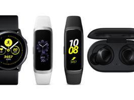 Samsung Galaxy Watch Active, Samsung Galaxy Fit, Samsung Galaxy Fit e, and Samsung Galaxy Buds