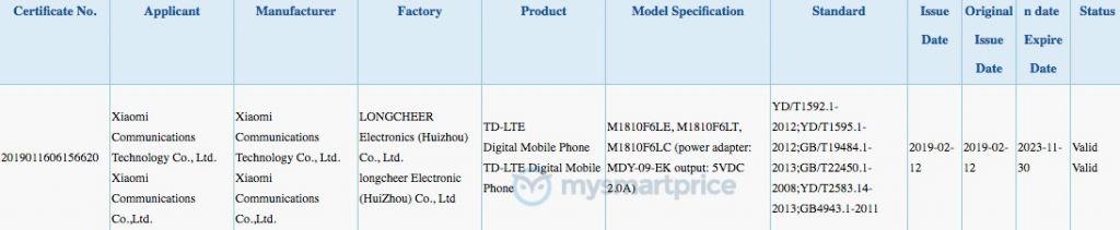 Xiaomi Redmi 7 3C Certification