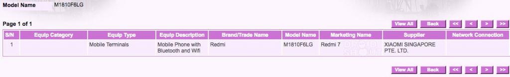 Xiaomi Redmi 7 IMDA Certification / Image Credits: DroidShout
