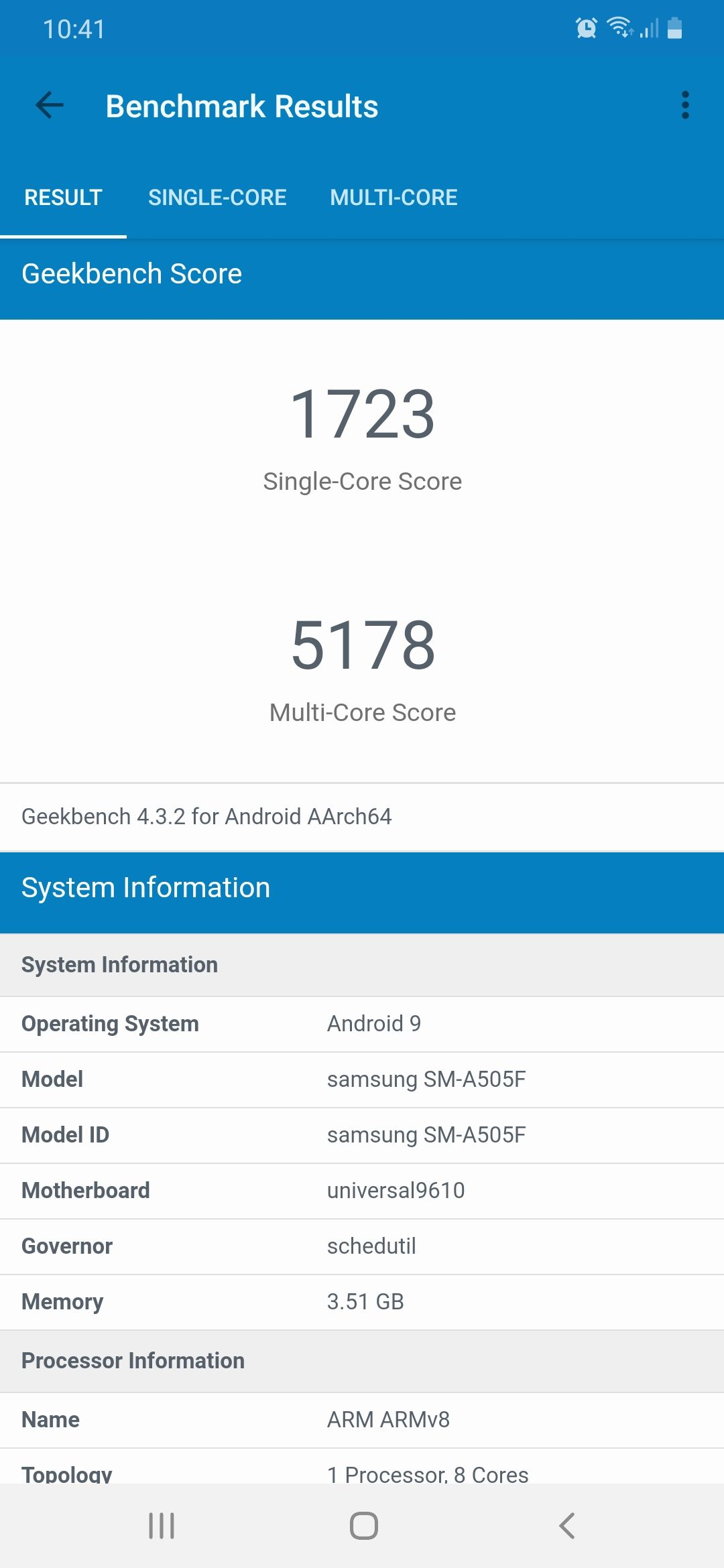 Samsung Galaxy A50 Benchmark Screenshot 01