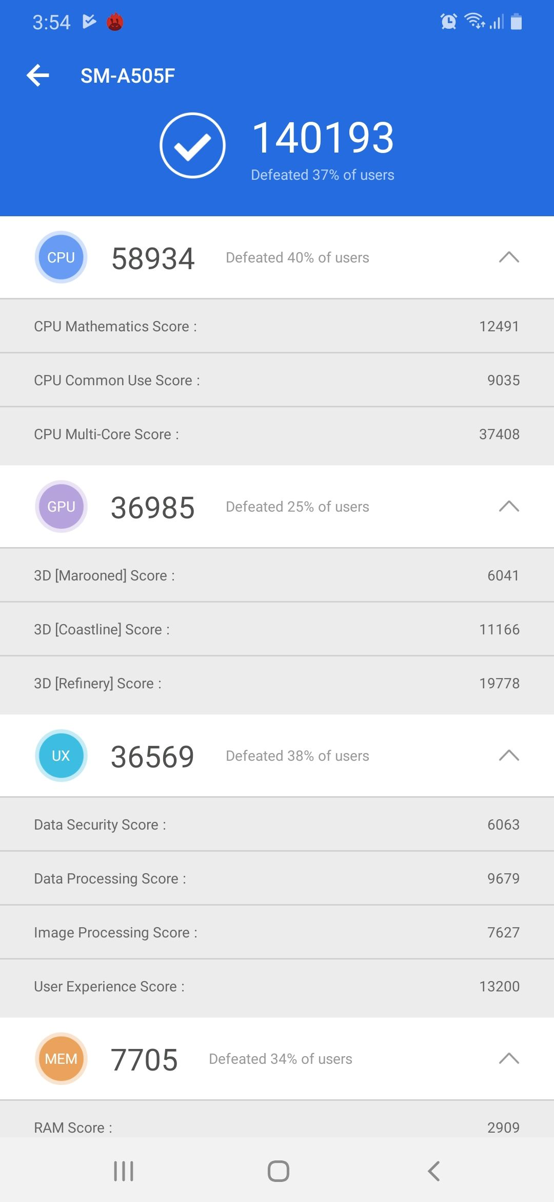 Samsung Galaxy A50 Benchmark Screenshot 02