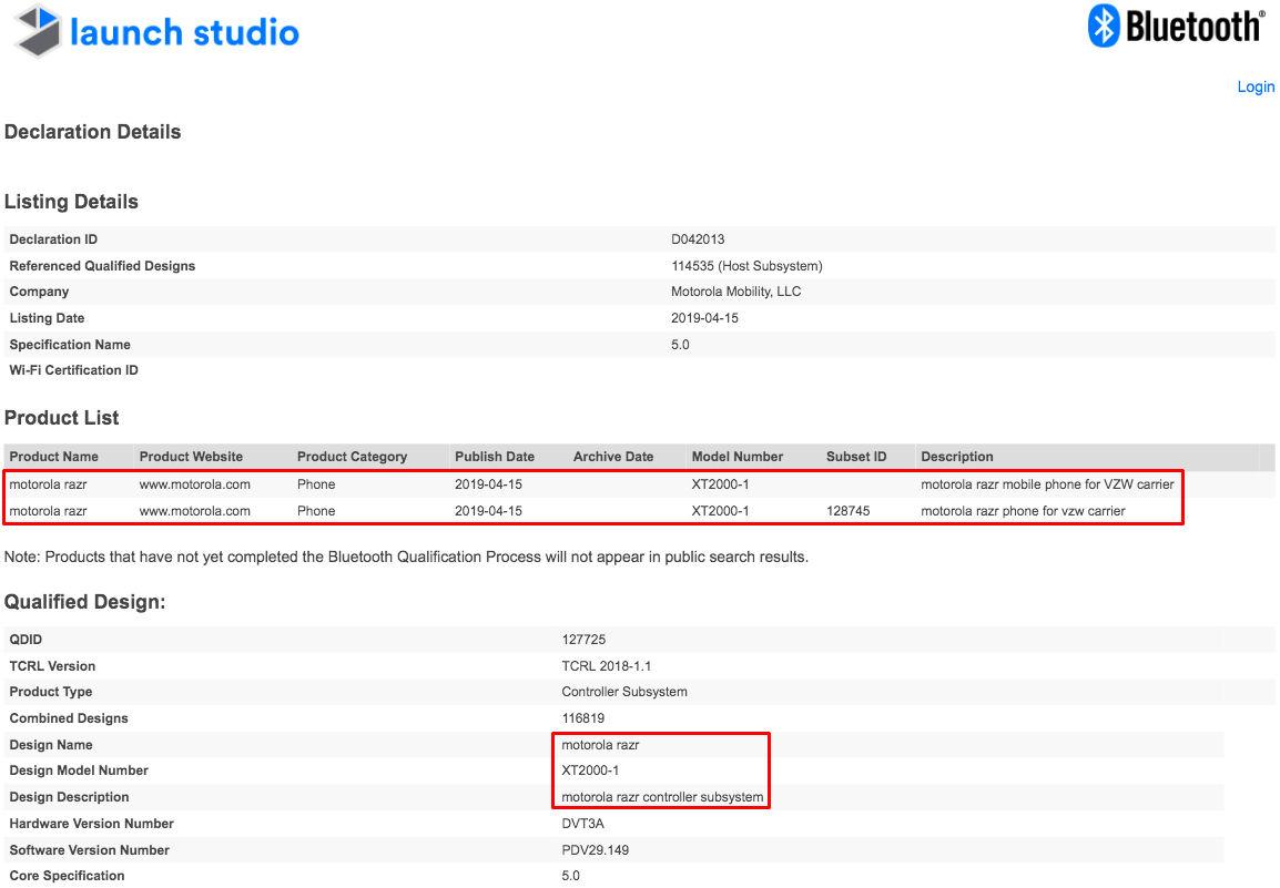 Moto Razr Bluetooth Certificate