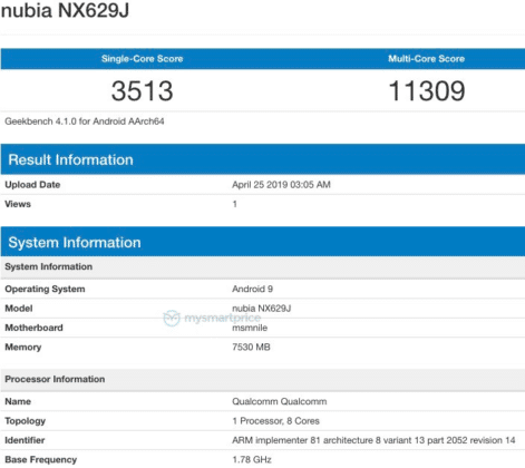 Nubia Red Magic 3 Geekbench