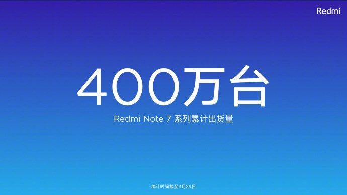 Redmi Note 7 4 million shipments