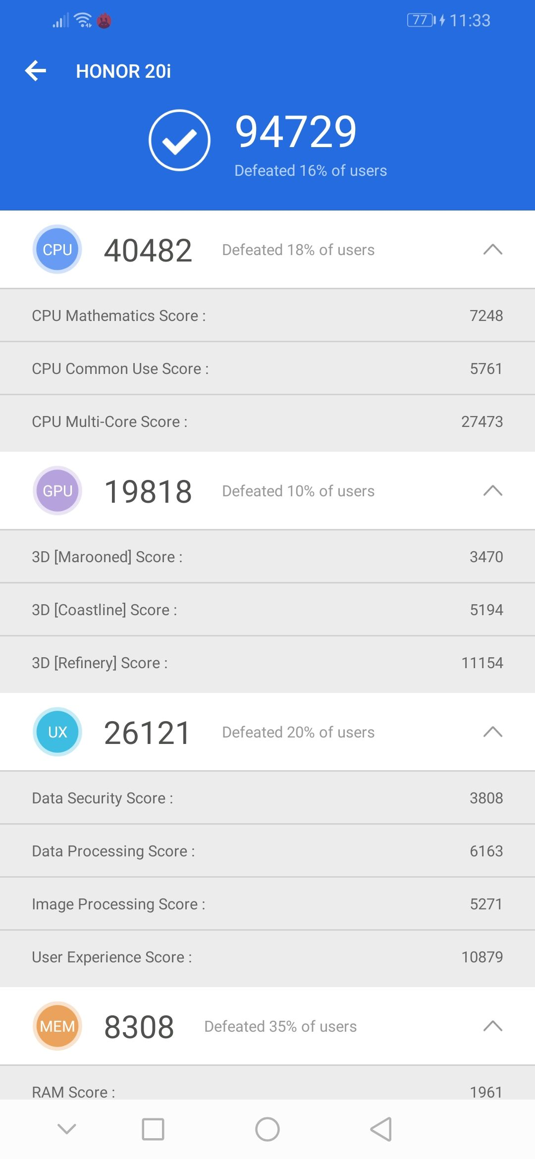 Honor 20i Benchmark AnTuTu