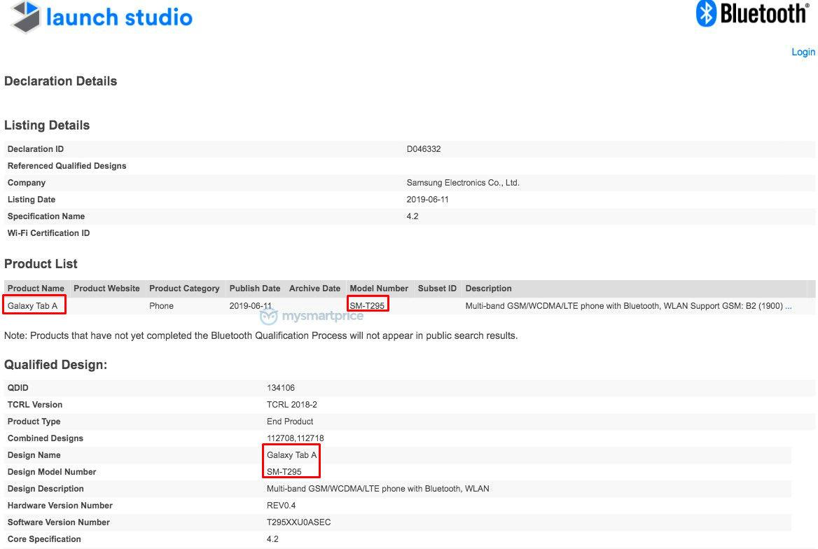 SM-T295 Bluetooth Certification