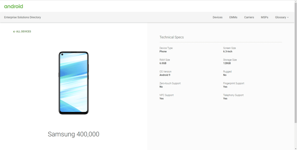 Samsung Galaxy M40 listed on Android Enterprise