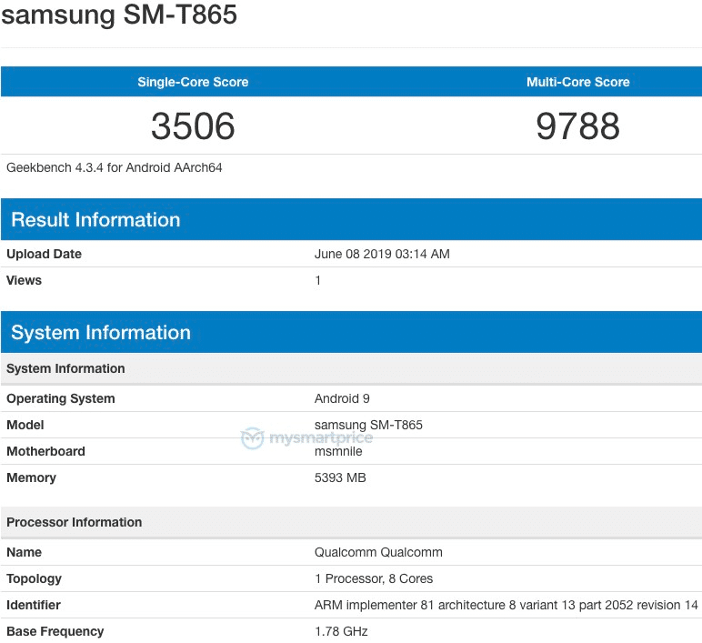 Samsung SM-T865 on Geekbench