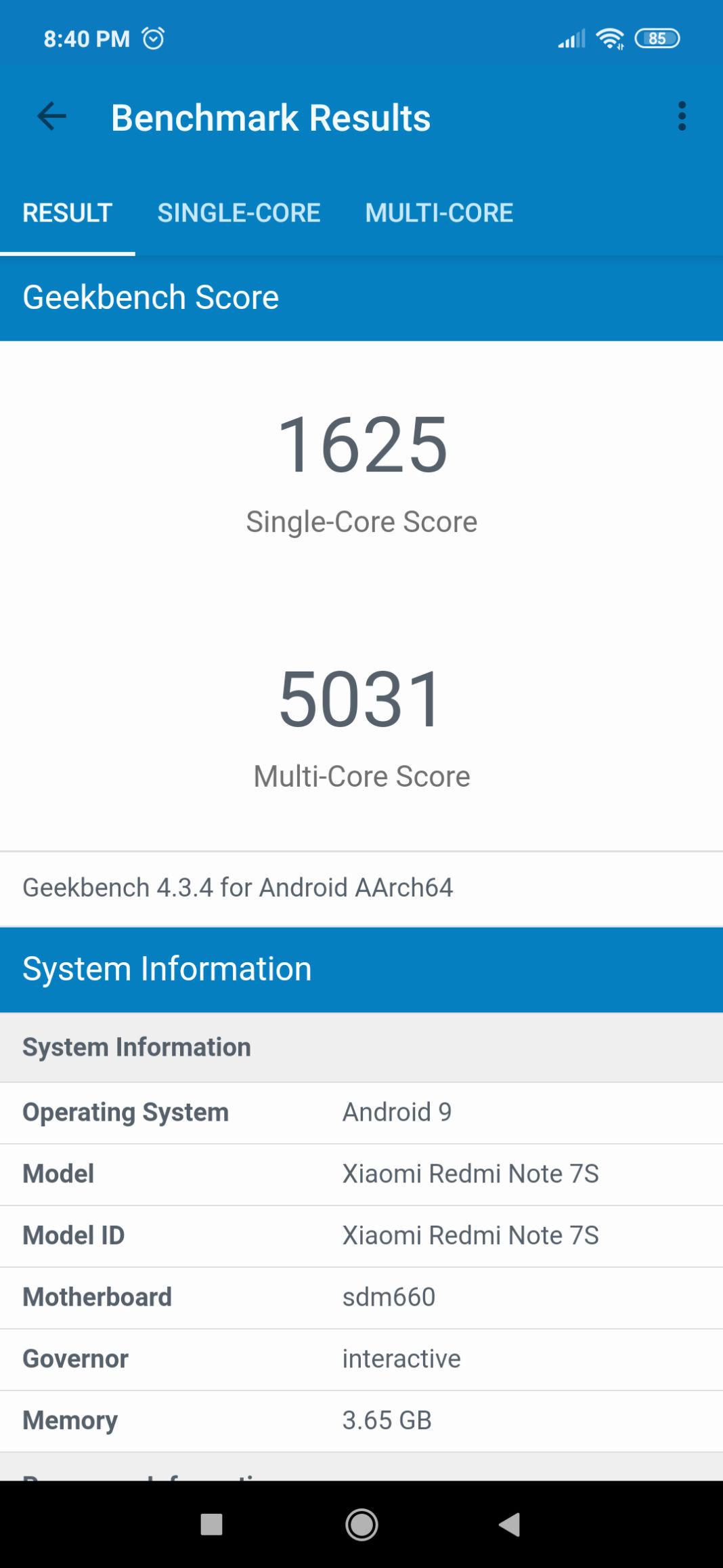 Xiaomi Redmi Note 7S Benchmark Geekbench 4