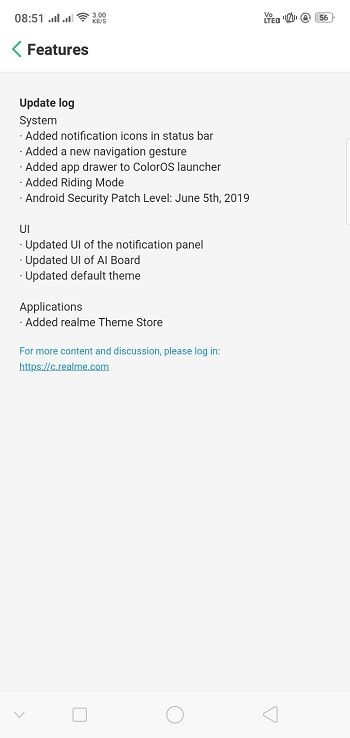 Realme 2 C1 Android 9 Pie ColorOS 6 Update Changelog Features
