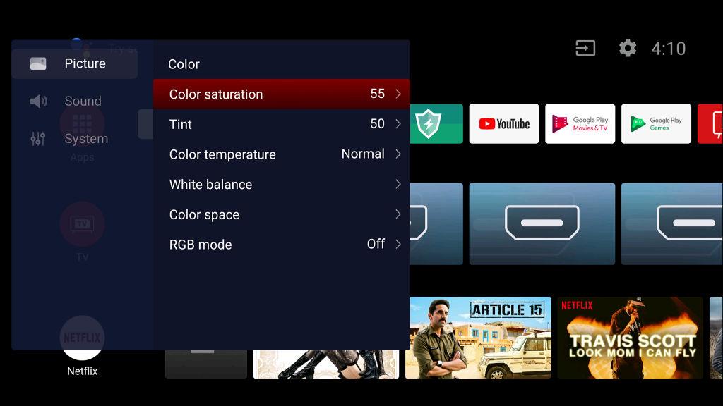 TCL 55P8E Software Screenshot