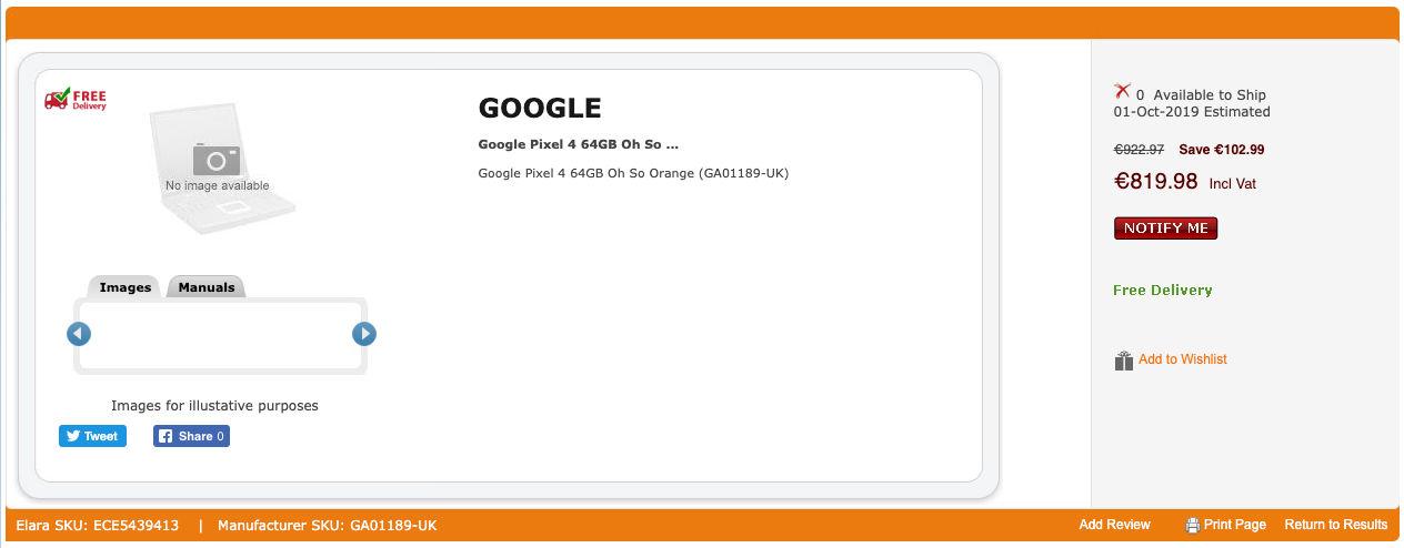 Google Pixel 4 64GB Oh So Orange Leaked Listing