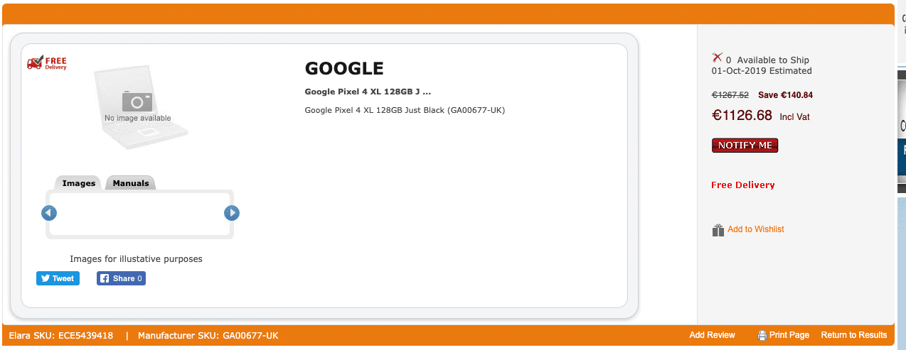 Google Pixel 4 XL 128GB Just Black Leaked Listing Price