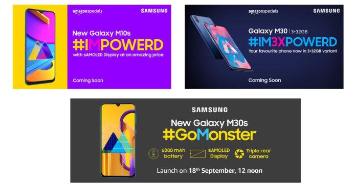 Samsung Galaxy M30s, Samsung Galaxy M10s, Samsung Galaxy M30 (3GB + 32GB) teaser images