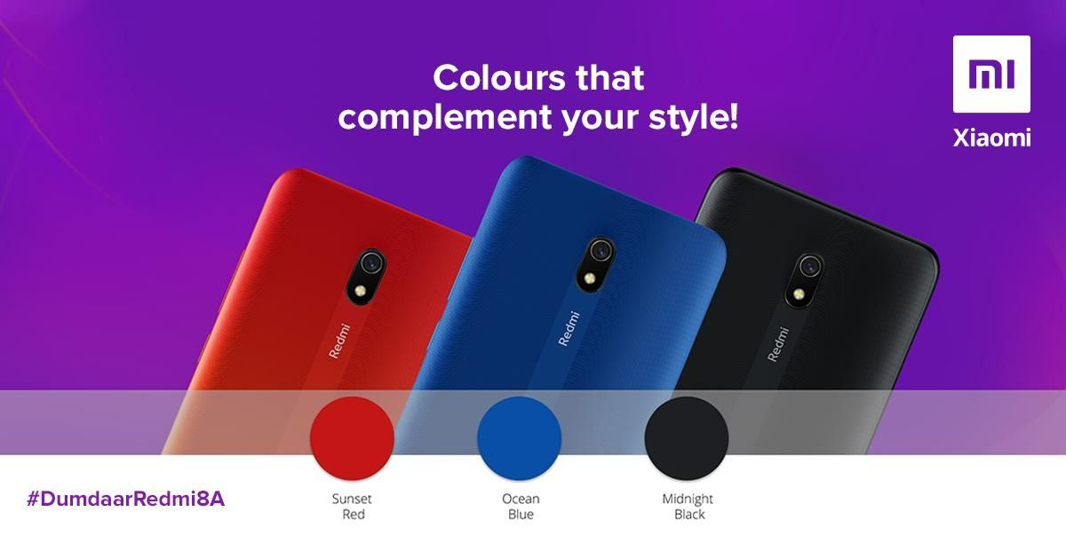 Xiaomi Redmi 8A India Launch Colors