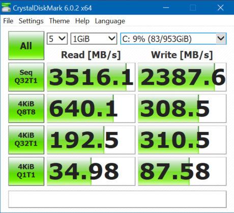 ASUS ZenBook Duo UX481FL - CrystalDiskMark SSD Data Transfer Rate