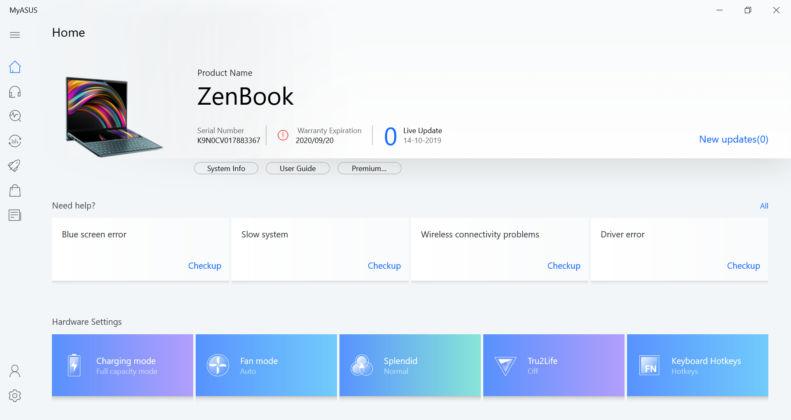 ASUS ZenBook Duo UX481FL - MyASUS App Home Screen