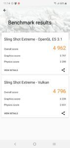 Samsung Galaxy Note 10+ 3DMark Sling Shot Extreme OpenGL ES 3.1 Vulkan Score