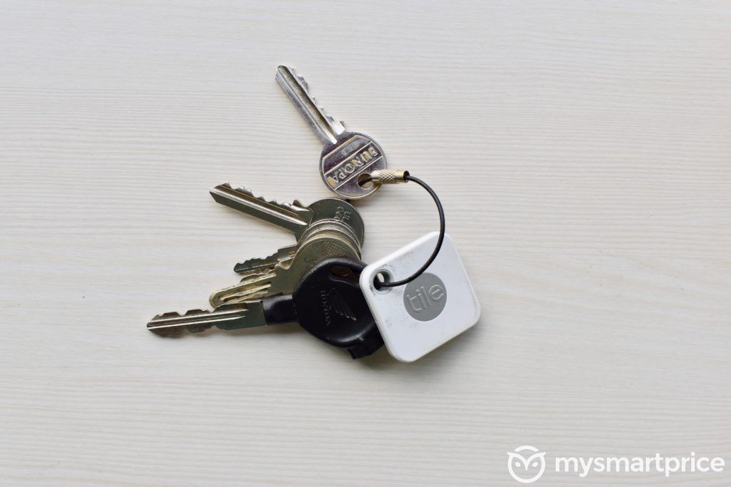 Tile Mate Bluetooth Tracker Attached To Keys