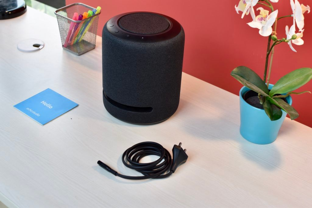 Amazon Echo Studio Box Package Contents Bundled Accessories