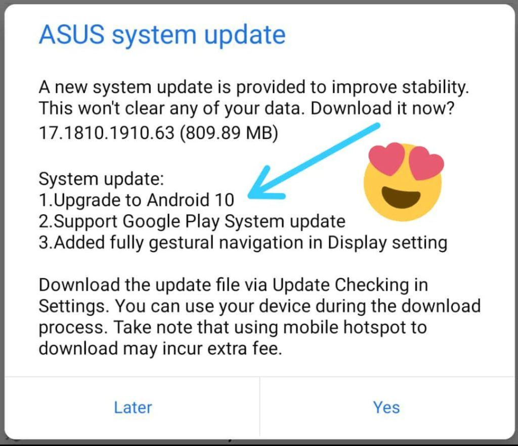 Asus Zenfone 6 (6Z) Android 10 OS software update changelog screenshot