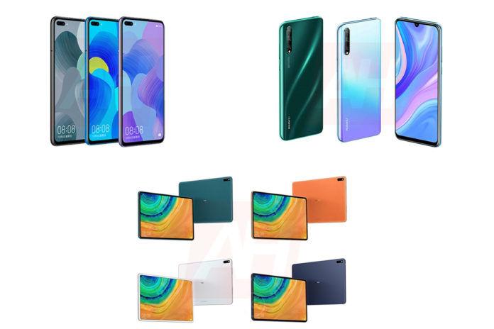 Huawei P Smart 2020, Huawei Nova 6, and Huawei MatePad Pro alleged render images