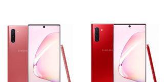 Samsung Galaxy Note 10 in Aura Pink and Aura Red color variants