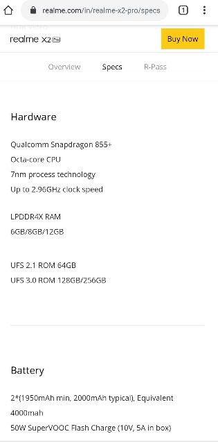 realme x2 pro 6gb + 64gb variant india