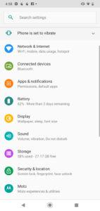 Motorola One Macro Software UI - Settings Menu