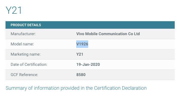 Vivo Y21 (V1926)