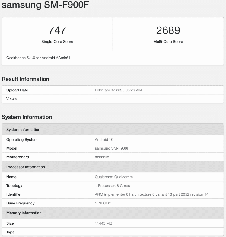 Samsung Galaxy Fold spotted on Geekbench running Android 10