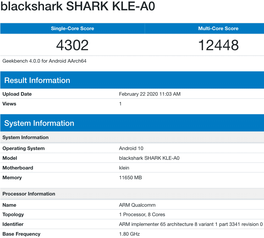 black shark 3 geekbench