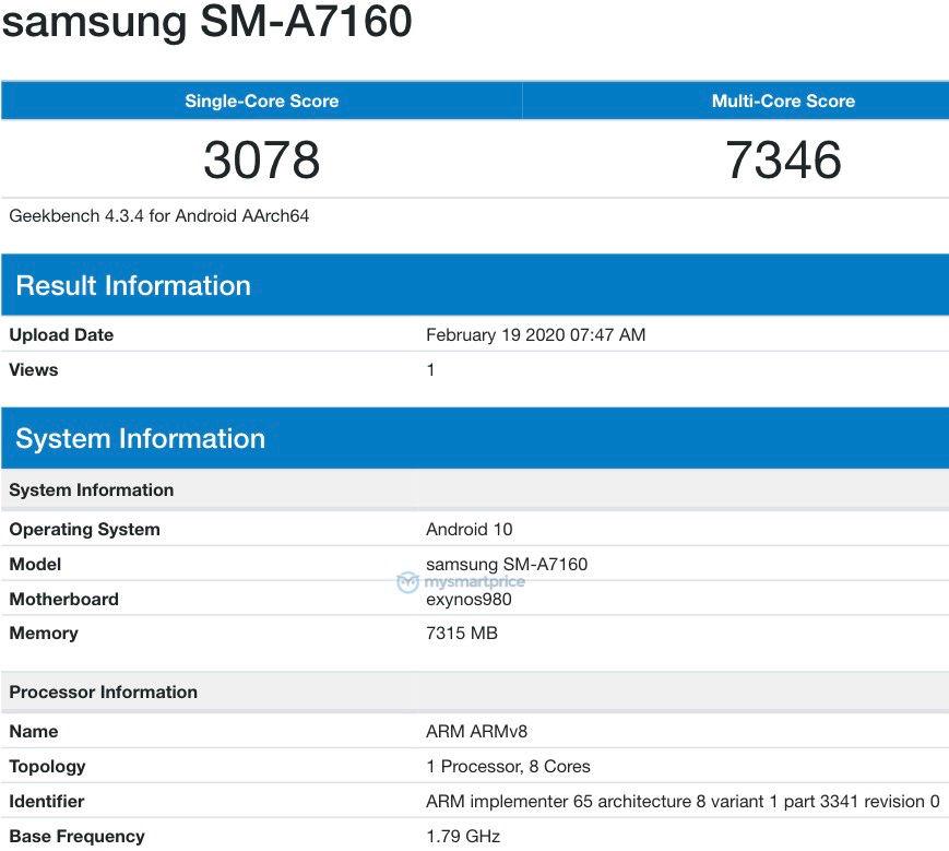 Samsung galaxy A71 5G geekbench scores